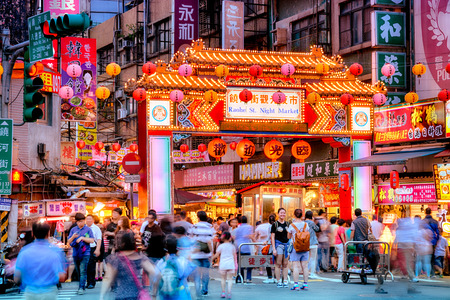 shopping scenes: Entrance of Raohe Street Night Market in Taipei  Editorial