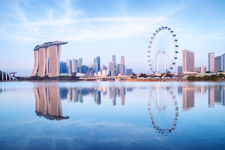 シンガポールのスカイライン、湾による庭からの眺め