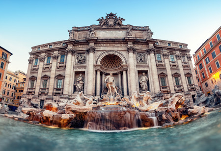 antiquity: Trevi Fountain (Fontana di Trevi). Rome - Italy. Stock Photo