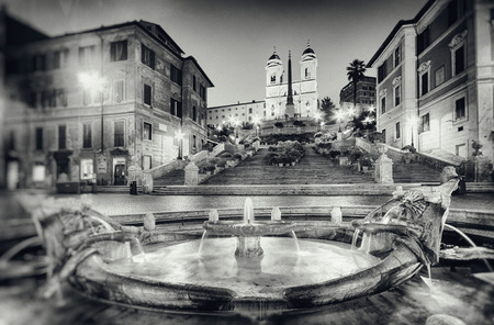 Vintage style photograph of the Spanish Steps in  Rome - Italy. ( Grain, dirt and scratches added in post process.)