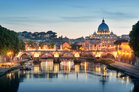 angelo: Night image of River Tiber, including: Ponte Sant Angelo and St. Peter Stock Photo
