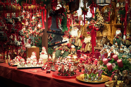 Christmas decorations diplayed for sale  at a Christmas Market. photo