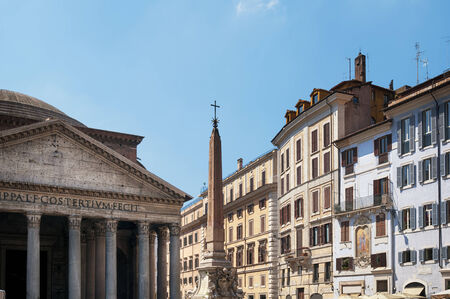 townhouses: The  Pantheon and townhouses in  Piazza della Rotonda, Rome, Italy. Stock Photo