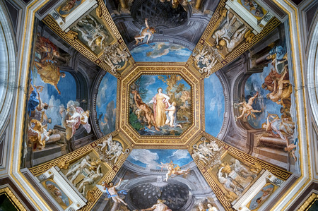 fresco: Rome, Italy - May 16, 2012:  Fresco painted on the ceiling  in Vatican Museums.