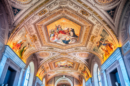 Rome, Italy - May 16, 2012:  Fresco painted on the ceiling  in Vatican Museums. Фото со стока - 33029259