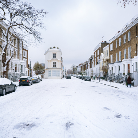 notting hill: Snow covered street in Notting Hill, London.