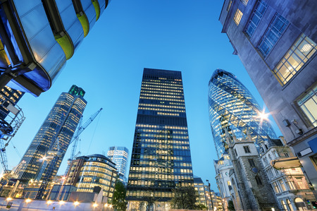 Skyscrapers at the City of London at night.