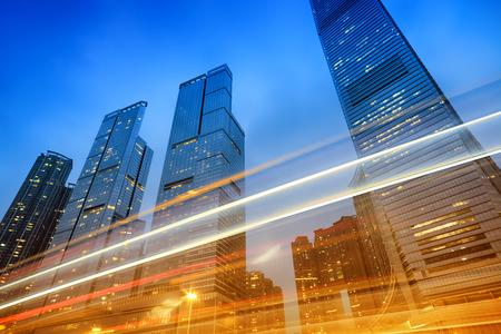 Office buildings at night in Hong Kong, China.