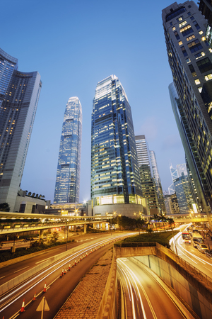 hk: International Finance Center towers in Hong Kong. Stock Photo