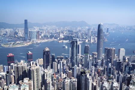 ヴィクトリア ・ ピークから Hong Kong スカイライン ビュー。