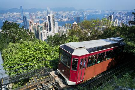 trams: The `Peak Tram` in Hong Kong. Editorial