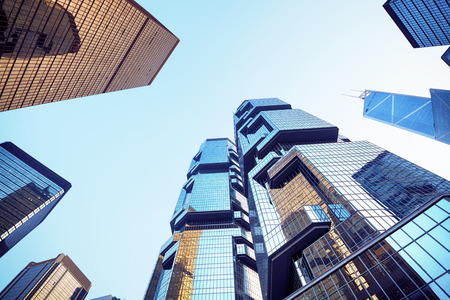people looking up: Central district in Hong Kong.