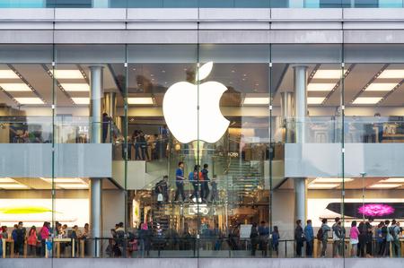 china business: Hong Kong, Hong Kong SAR -November 08, 2014:A busy Apple Store in Hong Kong located inside IFC shopping mall, Hong Kong. Editorial