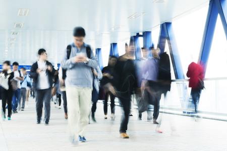 Motion blurred of people walking in Hong Kong