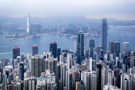 빅토리아 피크에서 홍콩 스카이 라인보기입니다. 스톡 콘텐츠