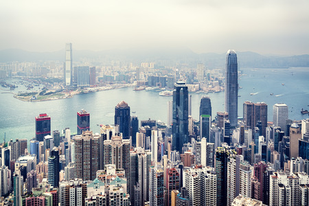 architecture and buildings: Hong Kong skyline view from the Victoria Peak.