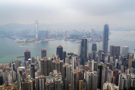 hazy: Hong Kong, Hong Kong SAR -November 12, 2014: Hazy skyline of Hong Kong  view from the Victoria Peak.