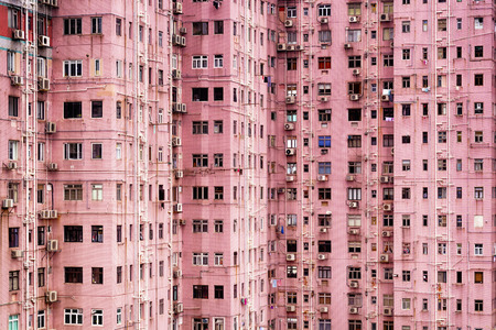housing problems: Apartment Building in Hong Kong. Stock Photo