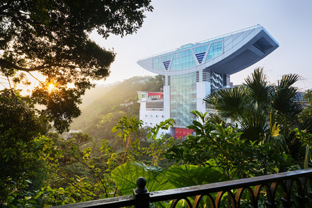 Hong Kong, Hong Kong SAR -November 15, 2014: The Peak Tower in Hong Kong. The Peak Tower is one of the most popular spot among tourist visiting Hong Kong. Editorial