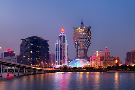 Macao, Macau S.A.R - November 16,2014: Night Macao Skyline, including Casinos such as, The Grand Lisboa and  Wynn. Gambling in Macau has been legal since the 1850s when the Portuguese government legalised the activity in the colony. Editorial
