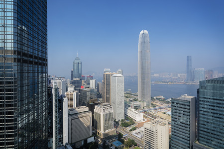 elevated view: Elevated view of Hong Kong`s business district. Editorial