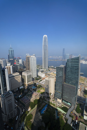 elevated view: Elevated view of Hong Kong`s business district. Stock Photo