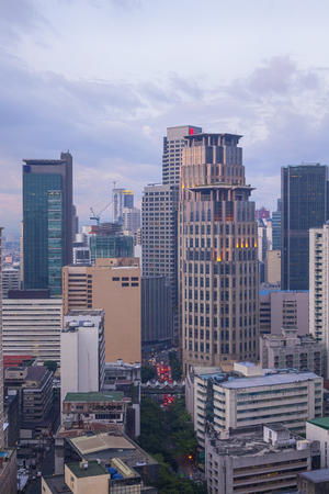 entire: Manila, Philippines -Sept 2, 2015: Makati City Skyline. Makati City is one of the most developed business district of Metro Manila and the entire Philippines.