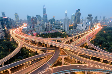 elevated walkway: Elevated view of a Road Junction in Shanghai.