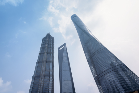 jin mao tower: Shanghai World Financial Centre, Shanghai Tower and Jin Mao Tower at Lujiazui district in Shanghai. Shanghai Tower is newest and the tallest of a group of three adjacent supertall buildings in Lujiazui. Editorial