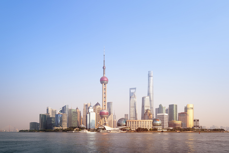 pudong district: View of Pudong district in Shanghai.