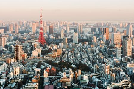 夕暮れ時の東京のスカイライン。 写真素材