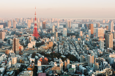 tokyo prefecture: Tokyo Skyline at sunset. Stock Photo