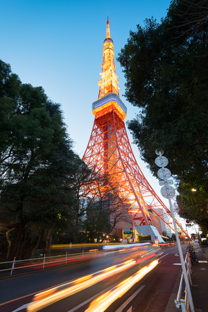 Tokyo Tower with traffic trail