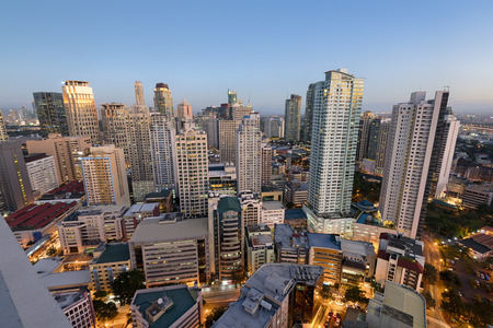 Makati City Skyline. Makati City is one of the most developed business district of Metro Manila and the entire Philippines. Stock Photo