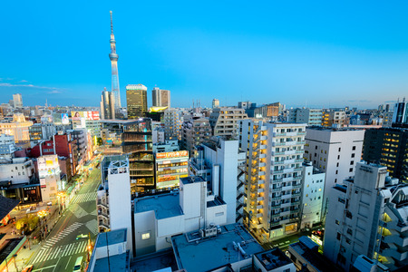 sumida ward: Tokyo; Japan -January 19; 2016: Aeriel view of Asakusa district in Tokyo. Skytree,Kaminarimon, Asakusa Culture Tourist Information Center, Asahi Beer Headquarters are visible. Editorial
