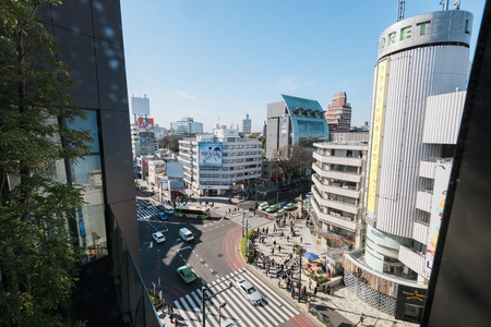 flagship: Tokyo, Japan - January 14, 2016:Aerial view of Omotesando district. Omotesand? is known as one of the foremost architectural showcase streets in the world, featuring a multitude of fashion flagship stores within a short distance of each other.