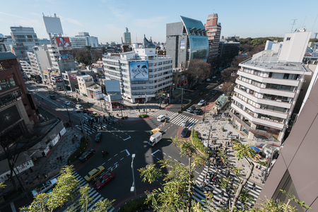 omotesando: Tokyo, Japan - January 14, 2016:Aerial view of Omotesando district. Omotesand is known as one of the foremost architectural showcase streets in the world, featuring a multitude of fashion flagship stores within a short distance of each other.
