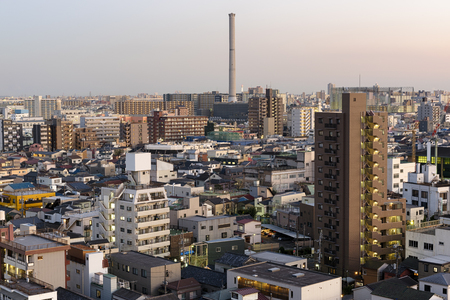 sumida ward: General view of Asakusa skyline in Tokyo, Japan. Editorial