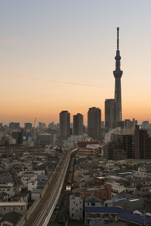 tokyo prefecture: Tokyo; Japan -January 9; 2016: Tokyo Skyline at dusk, view of Asakusa district Skytree visible in the distance.