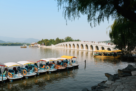 summer palace: Beijing, China - October 19, 2015: Traditional Chinese Boats at Summer Palace in Beijing. The Summer Palace, is a vast ensemble of lakes, gardens and palaces in Beijing, China.
