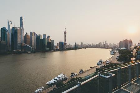 shanghai skyline: Shanghai skyline at sunset.