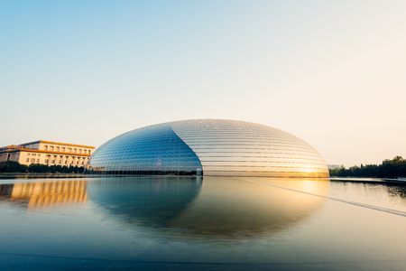 Beijing, China - Oct 19, 2015: National Centre for the Performing Arts, colloquially described as The Giant Egg, is an arts centre containing an opera house in Beijing, People's Republic of China. 免版税图像
