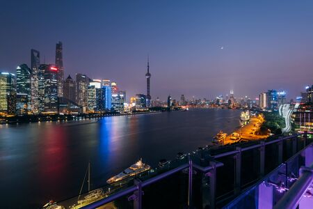 Shanghai, China - October 16, 2015:  Elevated view of  Pudong skyline in Shanghai- China. Pudong is a district of Shanghai, located east of the Huangpu River across from the historic city center of Shanghai in Puxi.