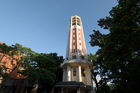 clavier: Manila, Philippines - October 31, 2016: UP Carillion Tower. The University of the Philippines Diliman, The only carillon tower in the Philippines and in Southeast Asia that is manually played by a clavier or a wooden keyboard, the U.P. Carillon towers abo Editorial