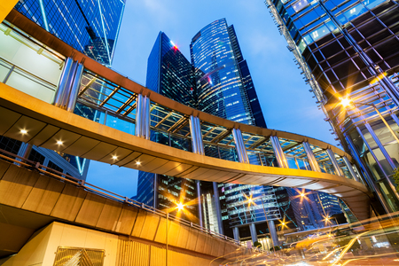 elevated walkway: Modern Office Buildings at night in Central Hong Kong.