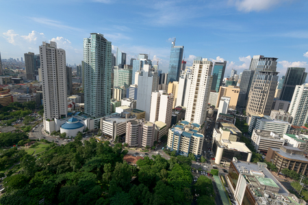 city and county building: Hight rise condominium and office buildings in Makati City, Manila, Philippines.