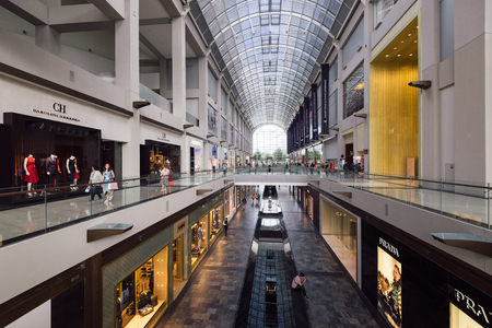 SINGAPORE - February 26, 2017: General view of the  Marina Bay Sands Shopping Mall Singapore. It is one of Singapores largest luxury shopping malls and it`s a major tourist atraction.