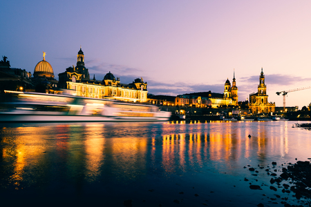 Dresden, Germany - July 6, 2018: Dresden Old Town architecture with Elbe river embankment at night,  Saxony, Germany. Editorial