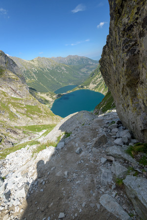 Elevated view of Czarny Staw pod Rysami and Morskie Oko lakes in the High Tatra Mountains.