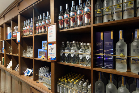 Warsaw, Poland - Oct 20, 2018: Different types of Vodkas for sale in the Warsaw Vodka Museum . Sajtókép